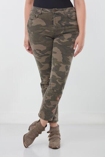 Slim leg broek met borduursel