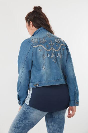 Veste en jean avec détail en paillettes