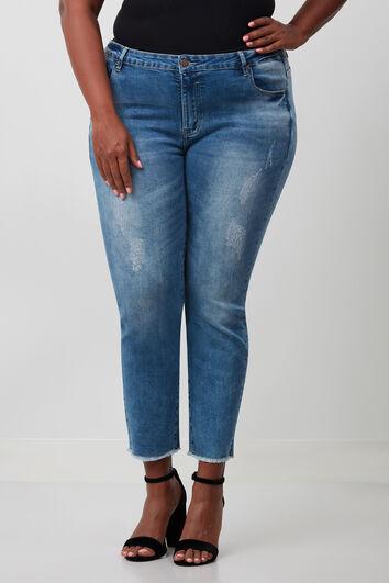 jeans met gerafelde zoom
