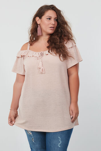 Top cold-shoulder met ruche