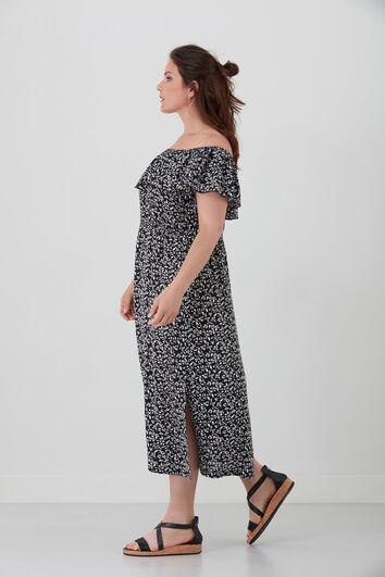Off-shoulder jurk met print