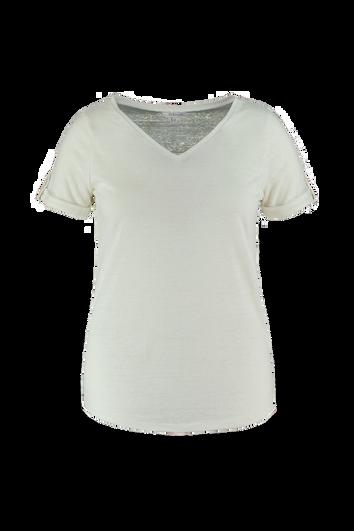Linnen T-shirt met V-hals