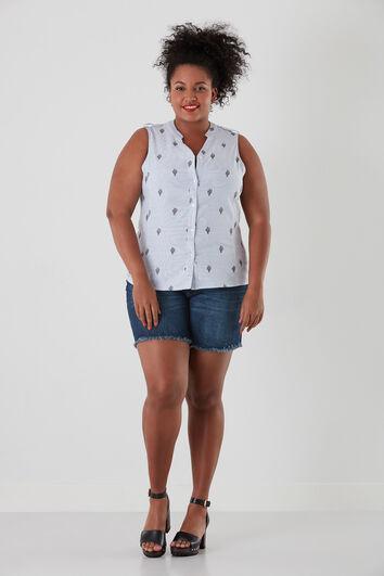 Mouwloze blouse met borduursels