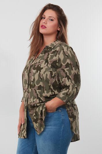 Lange blouse met all-over print