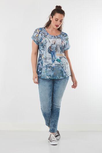 Jeans avec imprimé flora