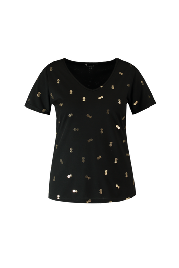 T-shirt à imprimé doré métallisé