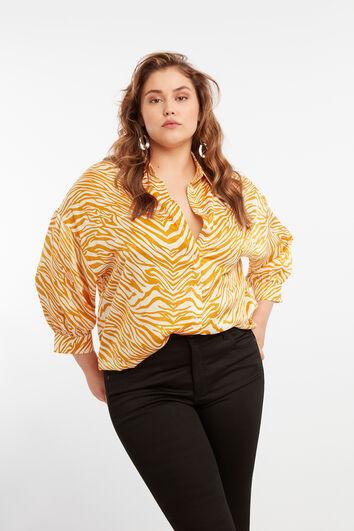 Satijnen blouse met animal print