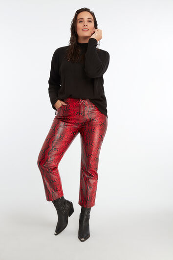 Cropped straight leg met slangenprint