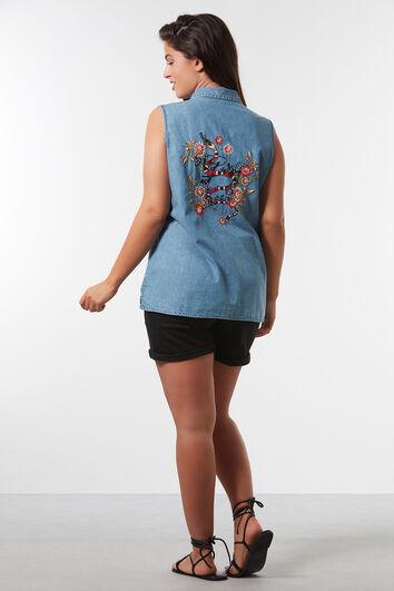Mouwloze denim blouse met embroidery