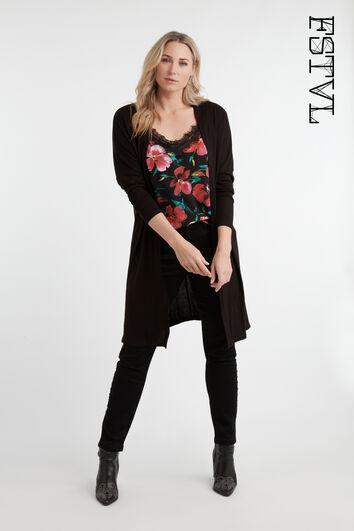 Cardigan long ouvert