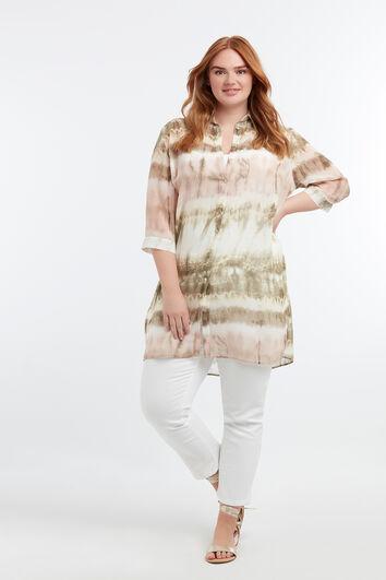 Transparante blouse met tie-dye print