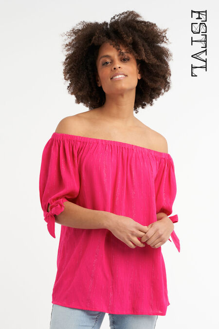Off shoulder blouse met lurex