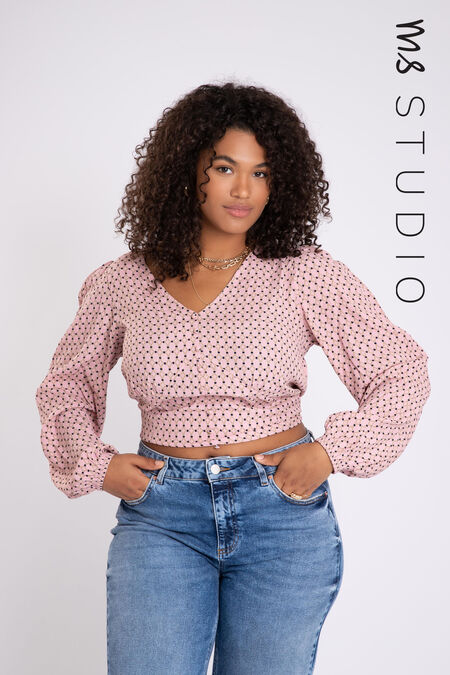 Korte blouse met bloemenprint