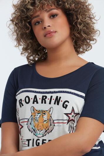 T-shirt met opdruk en studs
