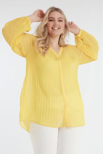 Gele Plissé blouse