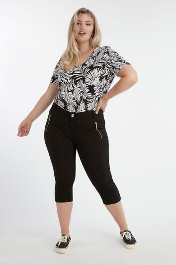 Capri broek met ritsjes
