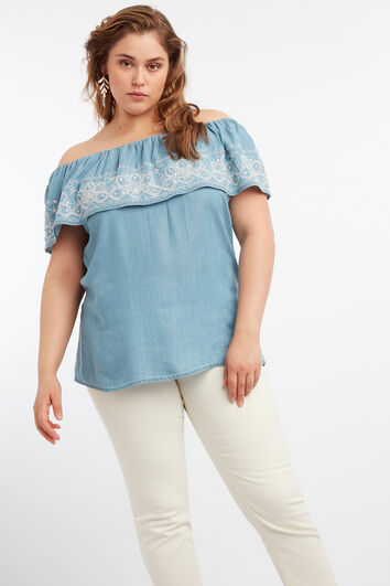Tencel off-shoulder blouse