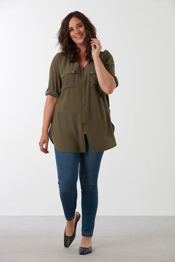 Effen blouse met rits