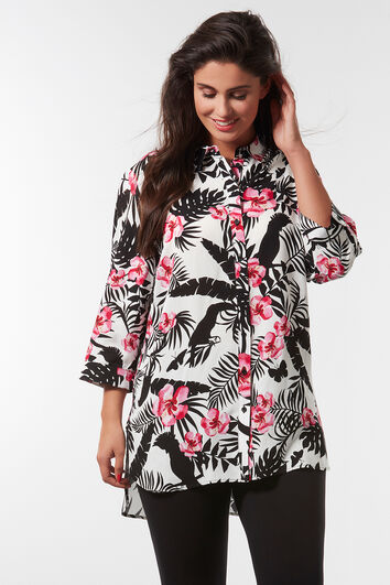 Lange blouse met all-over print