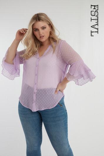 Lila blouse met stipjes