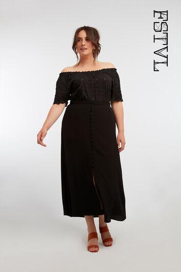Lange rok met knoopsluiting