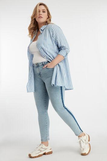 Jeans met streep