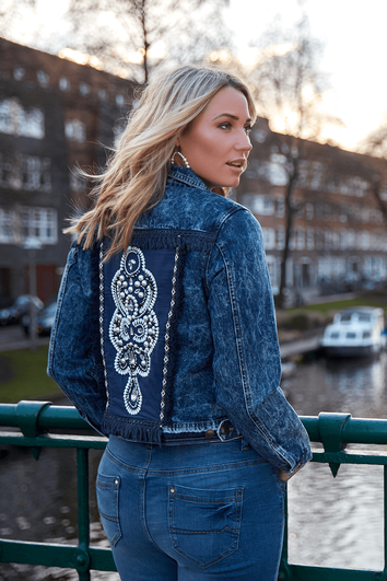 Denim jacket met imitatieparels