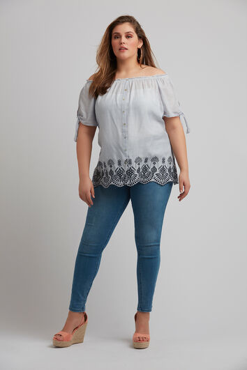 Off-shoulder blouse met kant