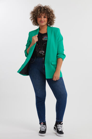 Crêpe blazer with crinkle effect