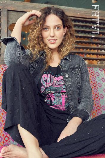 Pantalon large en broderie anglaise