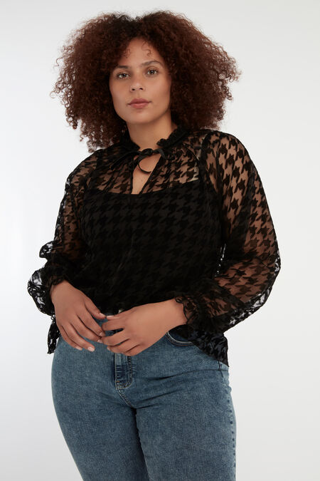 Transparante blouse met pied-de-poule print