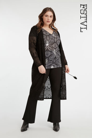 Cardigan long en dentelle