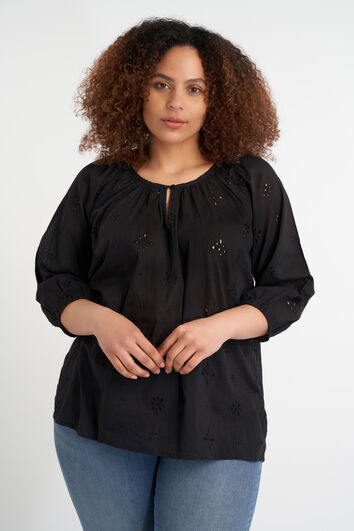 Blouse met broderie anglaise