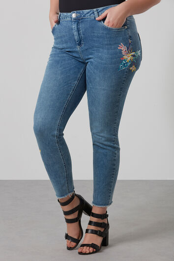 Pantalon jambe slim avec imprimé de fleurs