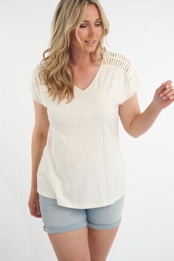 T-shirt met opengewerkte schouder
