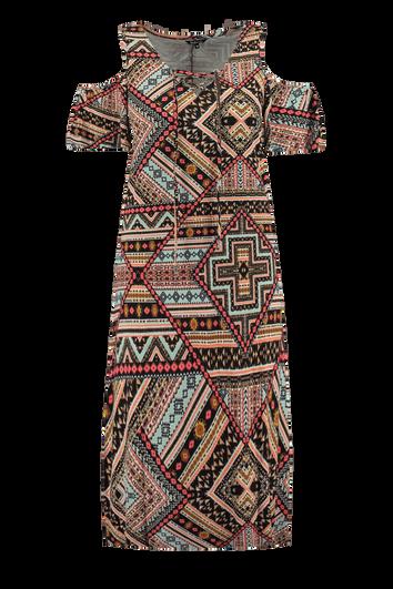 Lange jurk met cold-shoulder en print