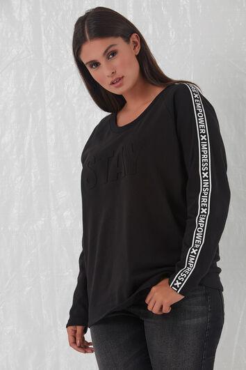 Sweater met embossed opdruk