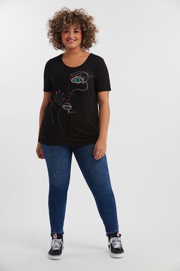 T-shirt imprimé avec clous