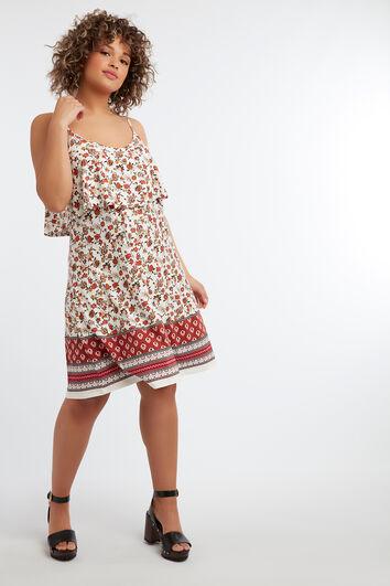Mouwloze jurk met bloemprint