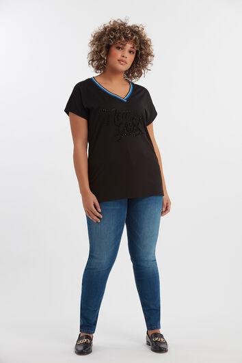 T-shirt à strass noirs