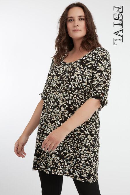 Lang T-shirt met strik detail en print