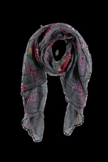 Sjaal met bloem- en ruitprint