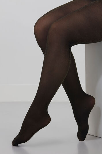 Collants avec reflet brillant doré