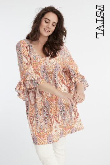 Lange blouse met paisley print