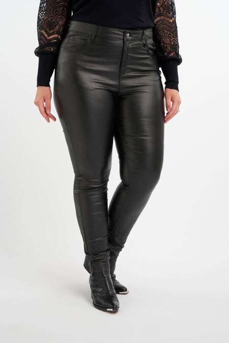 Slim leg broek met coating