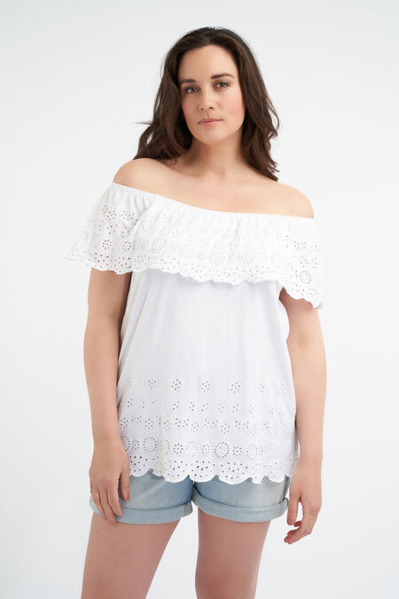 Katoenen off-shoulder top