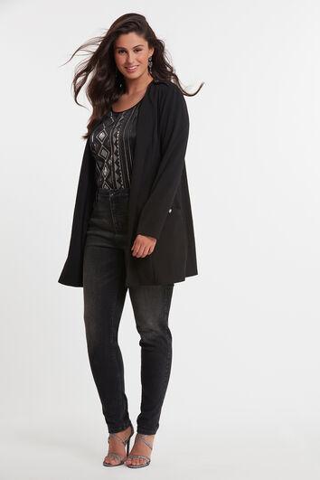 Lange jas met schouderdetail