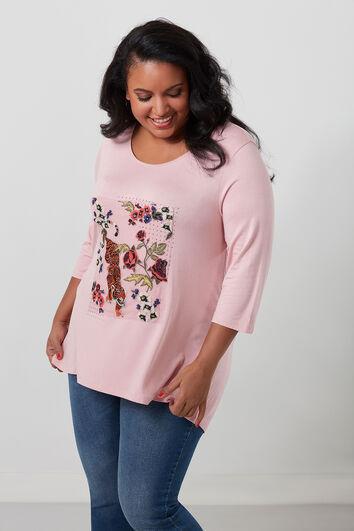 T-shirt met embroidery en strass