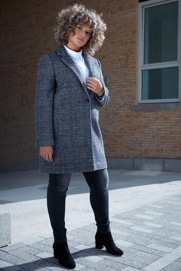 Wollen geruite jas