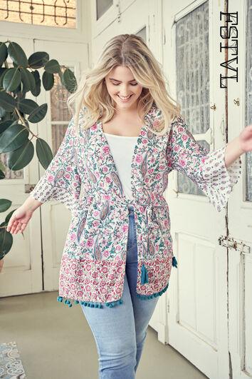 Kimono à imprimé coloré